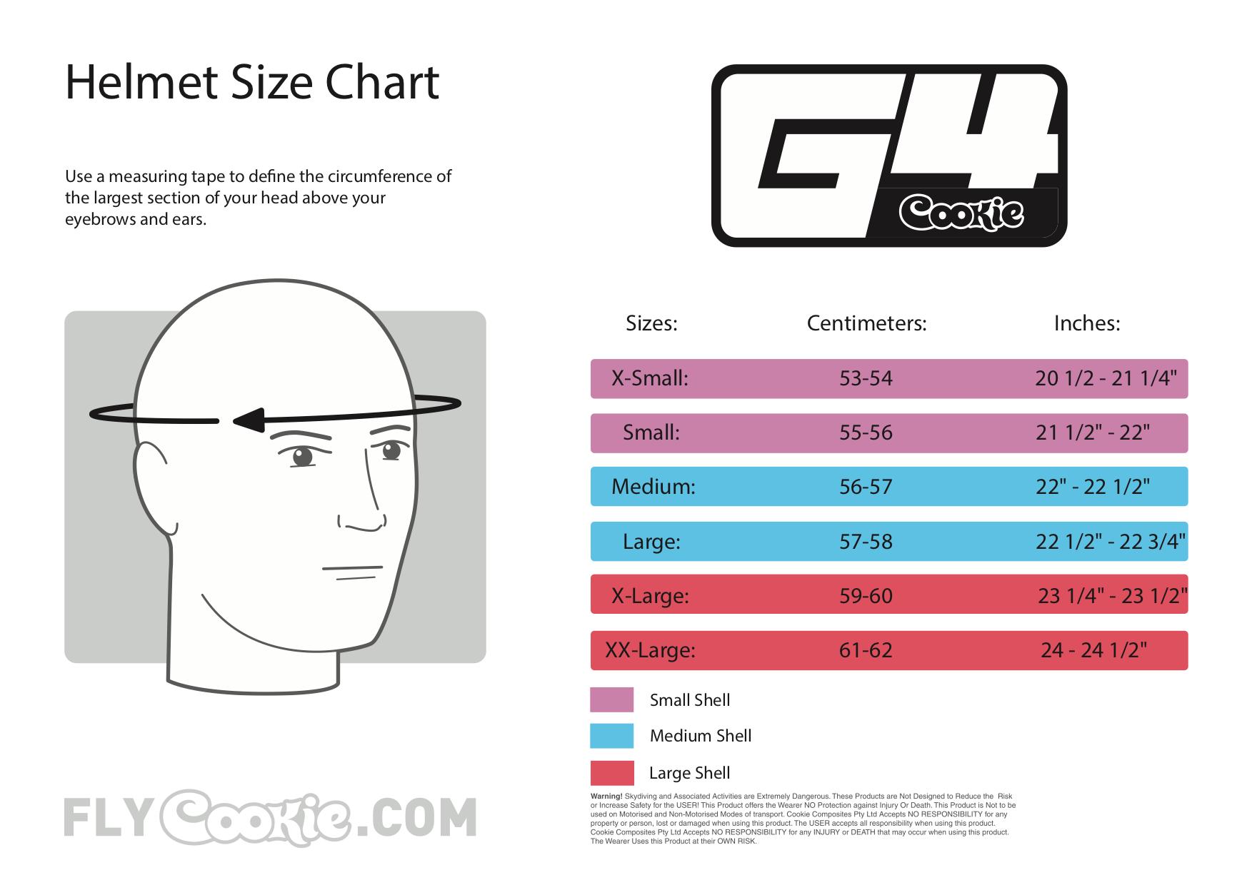 G4 sizing chart